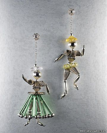 How to. Dancing People Glass Beaded ornaments by Martha Stewart crafts.