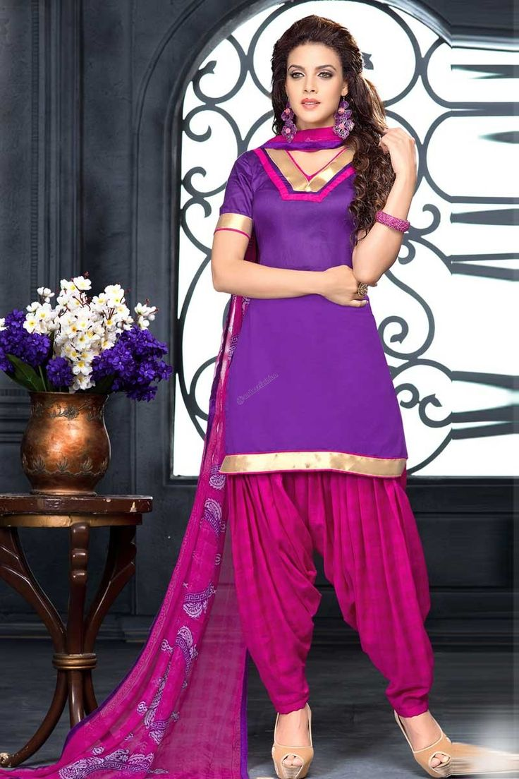 Purple Cotton Patiala Salwar Suit with Chiffon Dupatta Andaaz Fashion Malaysia Presents Purple cotton, printed print, semi stictch patiala suit.   V neck, Above knee length, short sleeves kameez.   Pink cotton patiala salwar.   Pink chiffon dupatta with lace border with work. http://www.andaazfashion.com.my/purple-cotton-patiala-salwar-suit-with-chiffon-dupatta.html