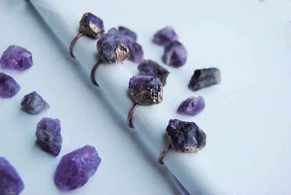 Raw amethyst ring raw gemstone ring amethyst crystal ring