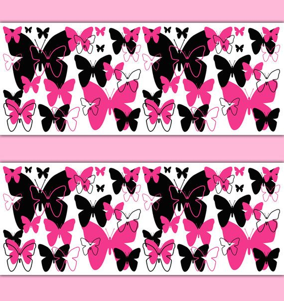 HOT PINK BUTTERFLY Border Decal Wall Art Teen Girls Stickers Room Decor  Baby Nursery Childrens Abstract. Top 25 ideas about Teen Wallpaper Border Decals on Pinterest