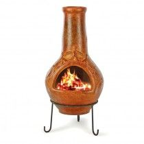 """40""""H LG CLAY CHIMINEA W/ MTL STAND"""