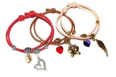 Bransoletki Sznurkowe z Kryształkami Swarovski   Zawieszki #bracelet #bransoletka #Swarovski #heart #charms