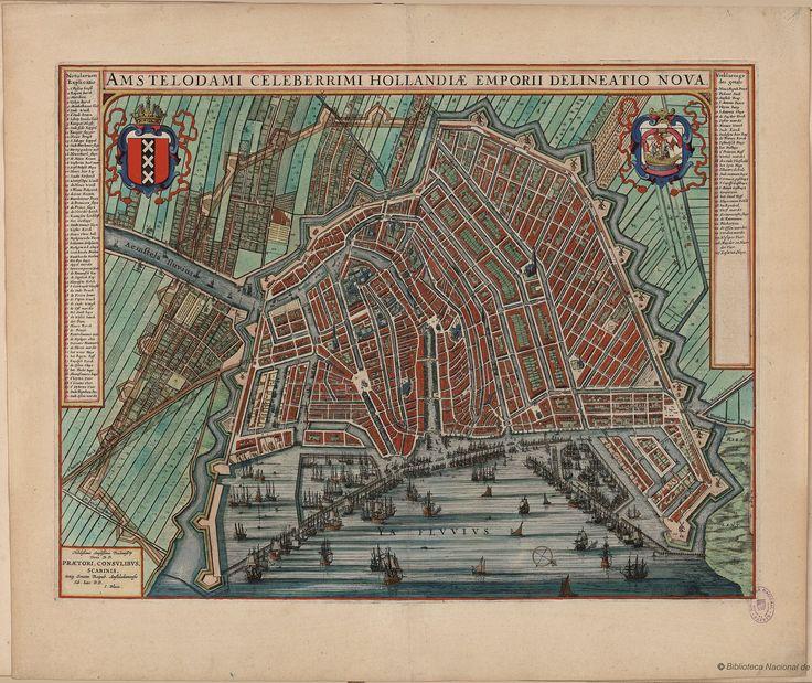 Map of Amsterdam - Amstelodami Celeberrimi Hollandiae Emporii Delineatio Nova. J.Blaeu, 1649