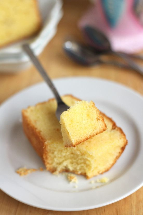 Cream Cheese Pound Cake: 3 cups flour, 1 tsp baking powder, 1/2 tsp baking soda, 1/2 tsp salt, 1 1/2 cups butter, room temp, 8 oz. cream cheese, 3 cups superfine or castor sugar*, 6 eggs, 1 tbsp vanilla extract, zest of a lemon or orange. {*To make your own superfine sugar - place 3 cups white sugar in bowl of food processor. Process until very fine, about 30 sec.}