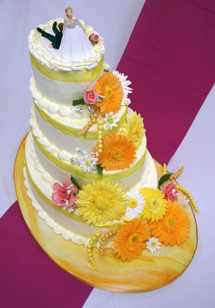 Orange Oval with Orange and Yellow Sugar Flowers