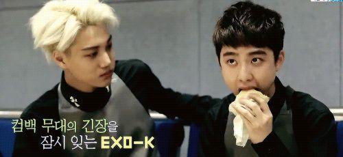 """ Jongin sweetie he's literally just biting something "" hahah ... kai's like: humm that bite he takes :P  xd"