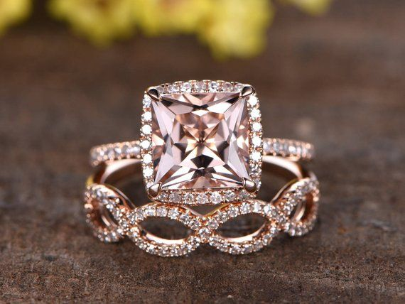 8mm Princess Cut Pink Morganite Engagement Ring Set Infinity Wedding Band Diamond Cross Twisted Ring Rings for Women 14K Rose Gold