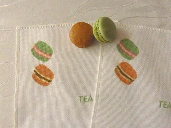 Embroidered Coasters Macaroons coaster Complated cross