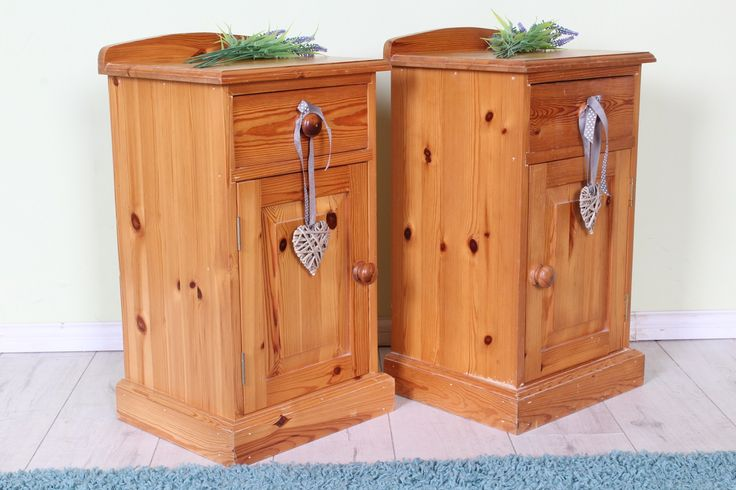 £99 Matching pine bedside tables each with a drawer & cupboard, solid throughout with age marks & scratches so could be painted - see all our furniture on the website - http://www.sussexpineonline.co.uk/en/