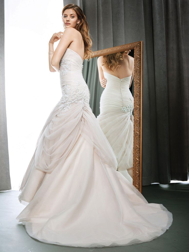 New Kenneth Winston Style glamorous wedding dress with crystal accents and assymetrical ruching skirt