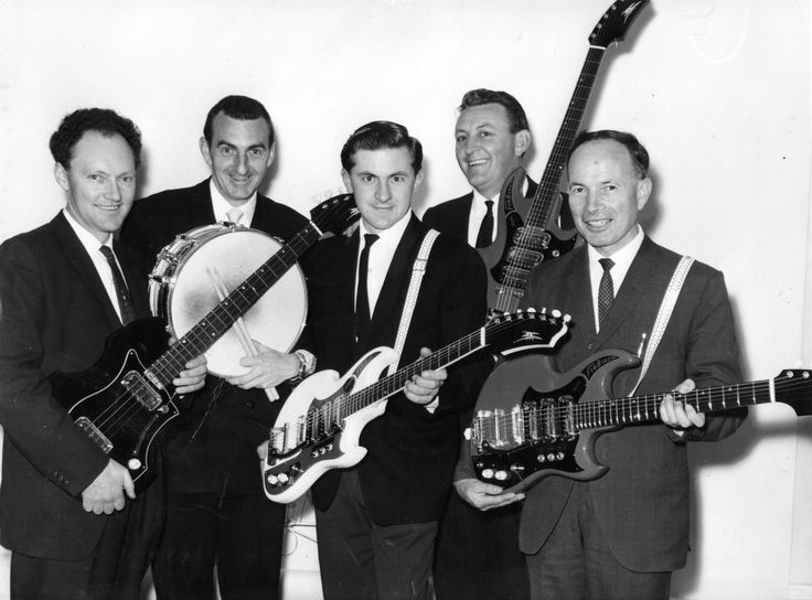 Bill May and the boys, with early Maton Guitars