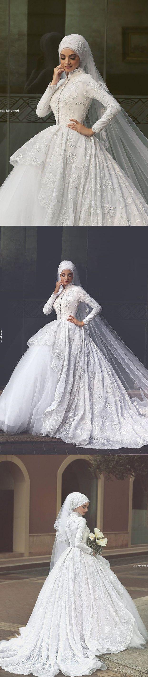 Robe de Mariage Hijab Wedding Gowns Long Sleeve Ball Gown Wedding Dresses 2016 High Neck Lace Vestidos de Noiva $220