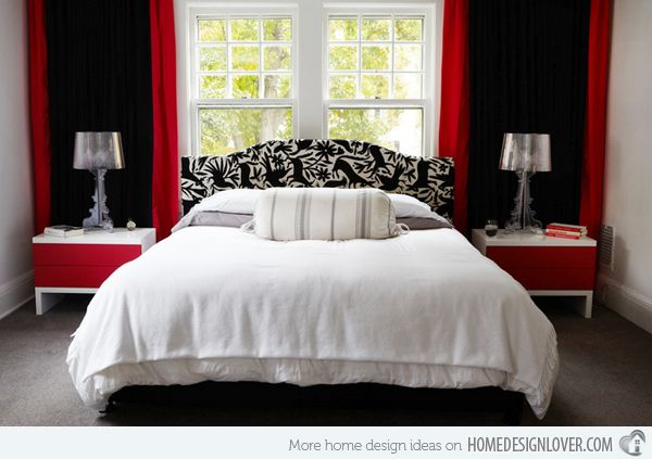 Red accent walls with sheer black fabric.    Annnnd white lights  between fabric with red and black comforter and black furniture and red/black pic frames and red decorations