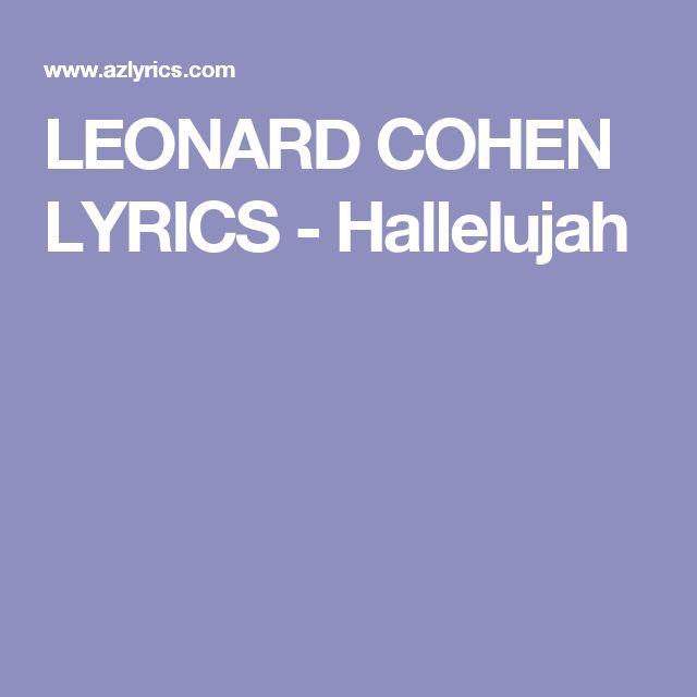 LEONARD COHEN LYRICS - Hallelujah