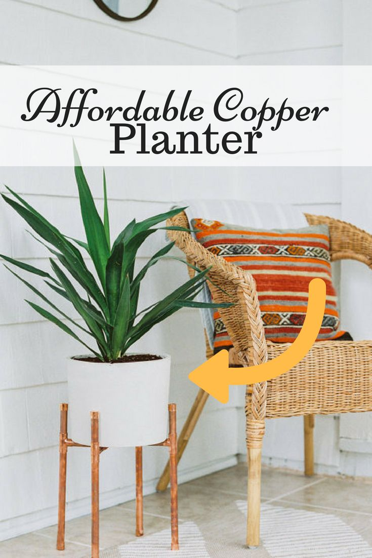 Plant your greens in this beautiful #farmhouse style planter! Copper and Concrete Planter   Modern Plant Stand   Planter   Cement Pot   Indoor Plant Stand   Indoor Plants #planter #home #ad #plant #plant #plantingplants #cementpot #plantstand