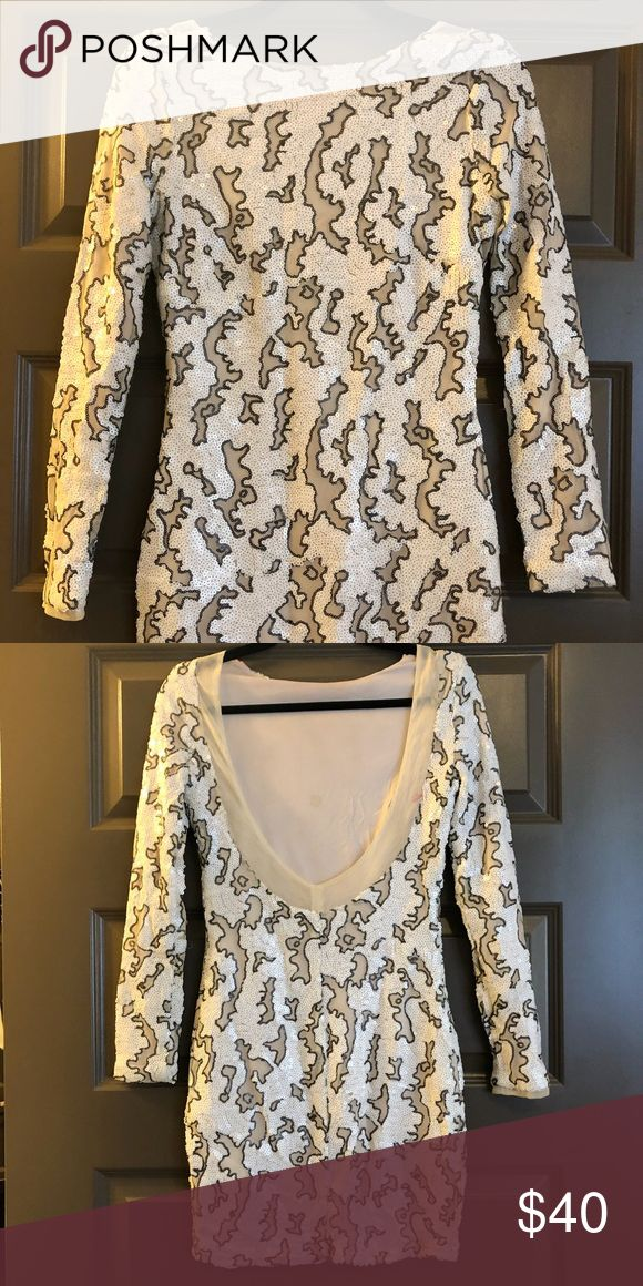 Zara white animal print sequin mini dress Long sleeve, low open back sequin white and charcoal dress. Mini dress. Zara Dresses Mini