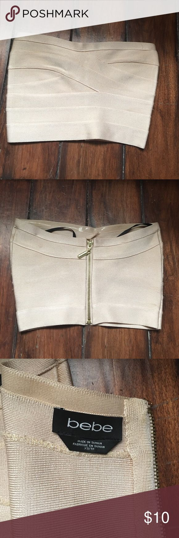 Bebe Bandeau top size XS Bebe bandeau top cream colored size XS. Worn twice bebe Tops Crop Tops