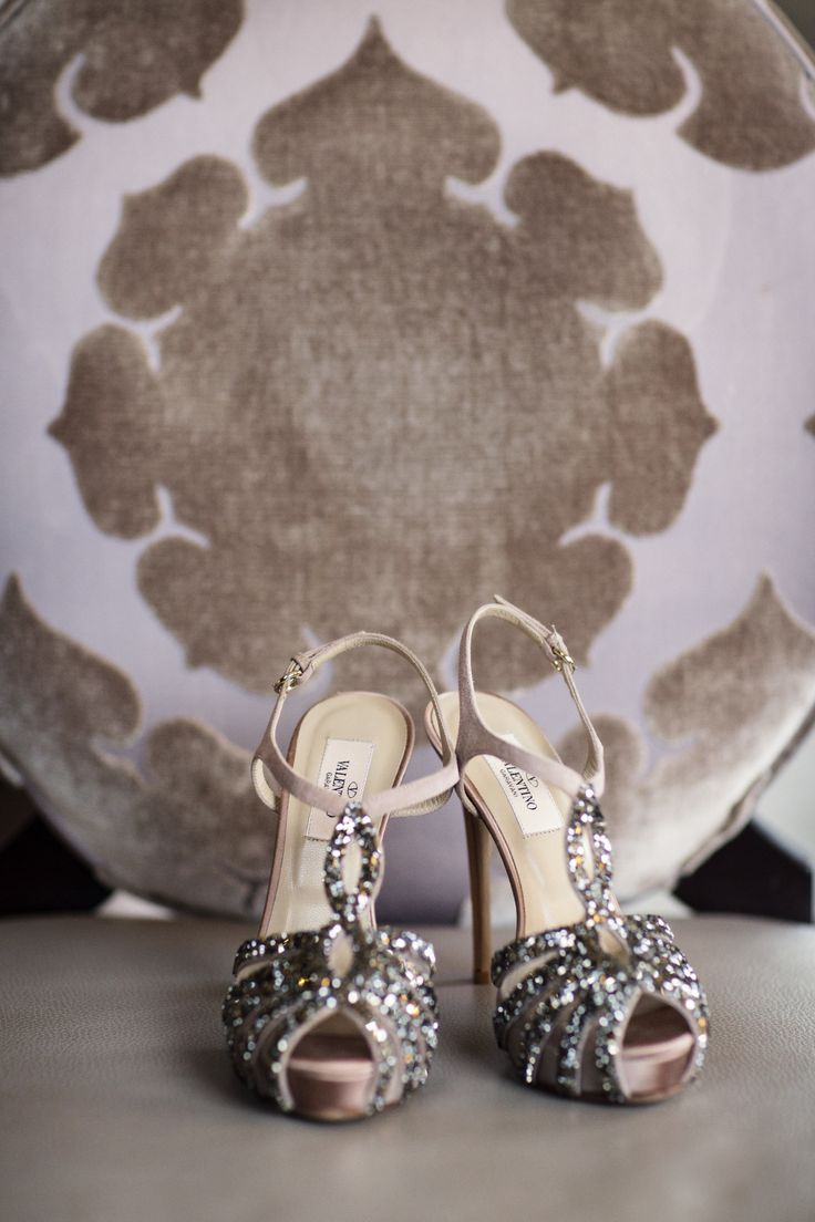 Sparkly #Valentino Shoes | Catherine Hall Studios | On SMP: http://www.stylemepretty.com/little-black-book-blog/2013/12/04/the-ritz-carleton-half-moon-bay-wedding-from-catherine-hall-studios/