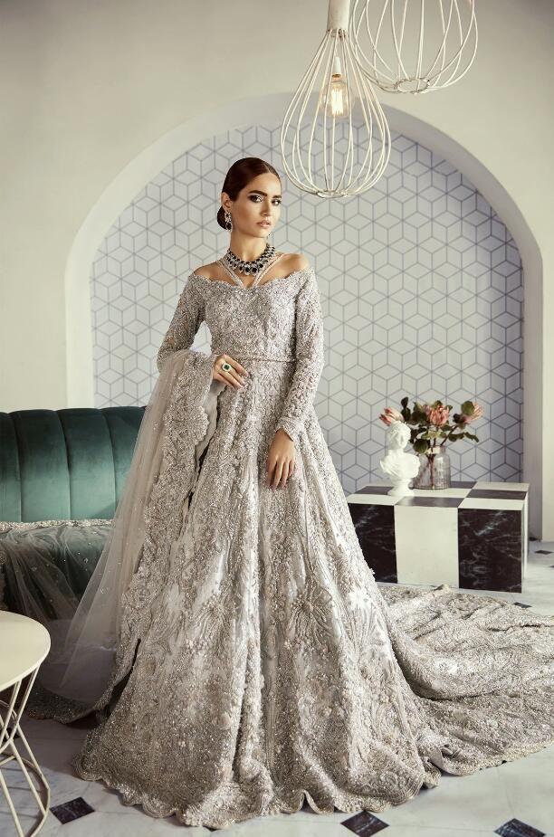 Pakistani Designer Luxury Bridal Wear In Silver Color N7060 In 2020 Asian Bridal Dresses Pakistani Bridal Dresses Bridal Dresses,Casual Bohemian Beach Wedding Dresses