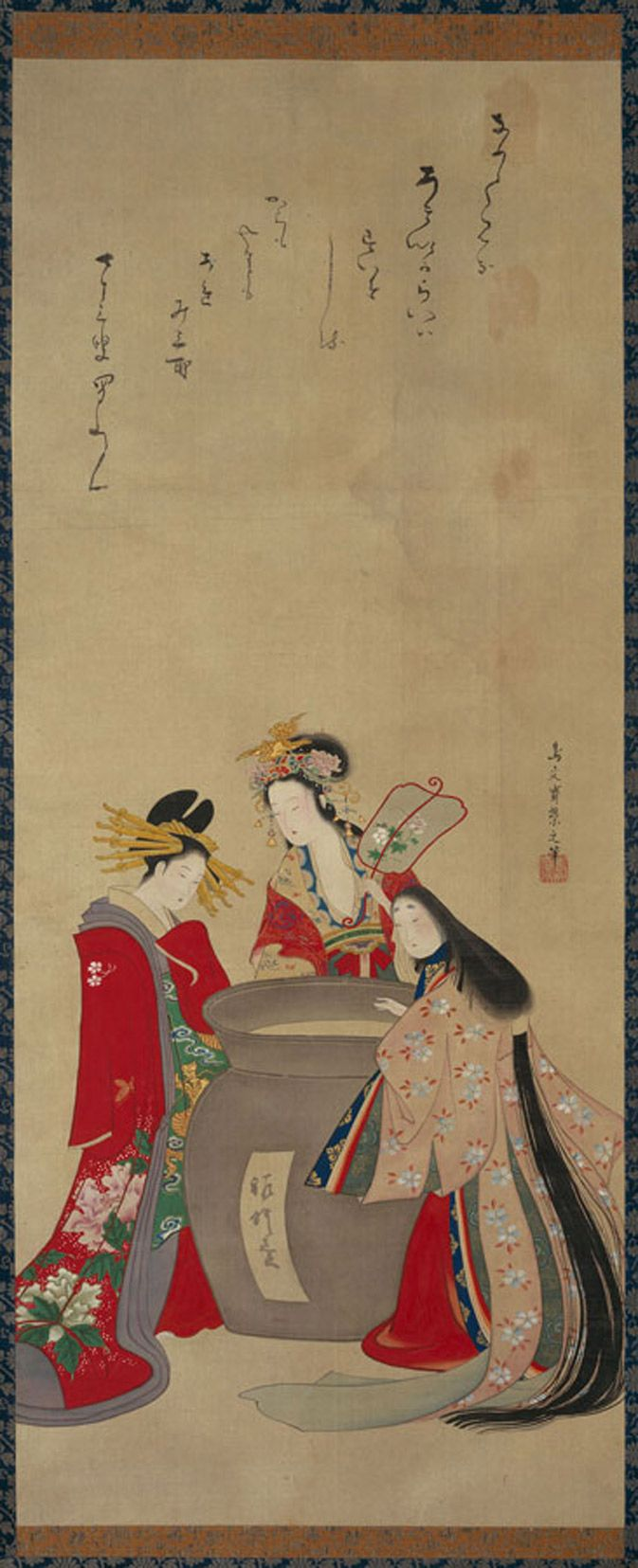 Hanging scroll, Parody of The Three Vinegar Tasters, about 1821, by Chobunsai Eishi (Japanese, 1756-1829) ; ink, color, and gold on silk