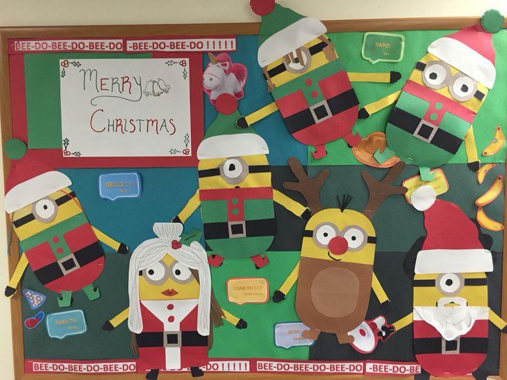 Christmas holiday minion bulletin board. Santa mrs. Claus elves reindeer & 67 best Art Room Door/Bulletin Board Decorations images on Pinterest ...