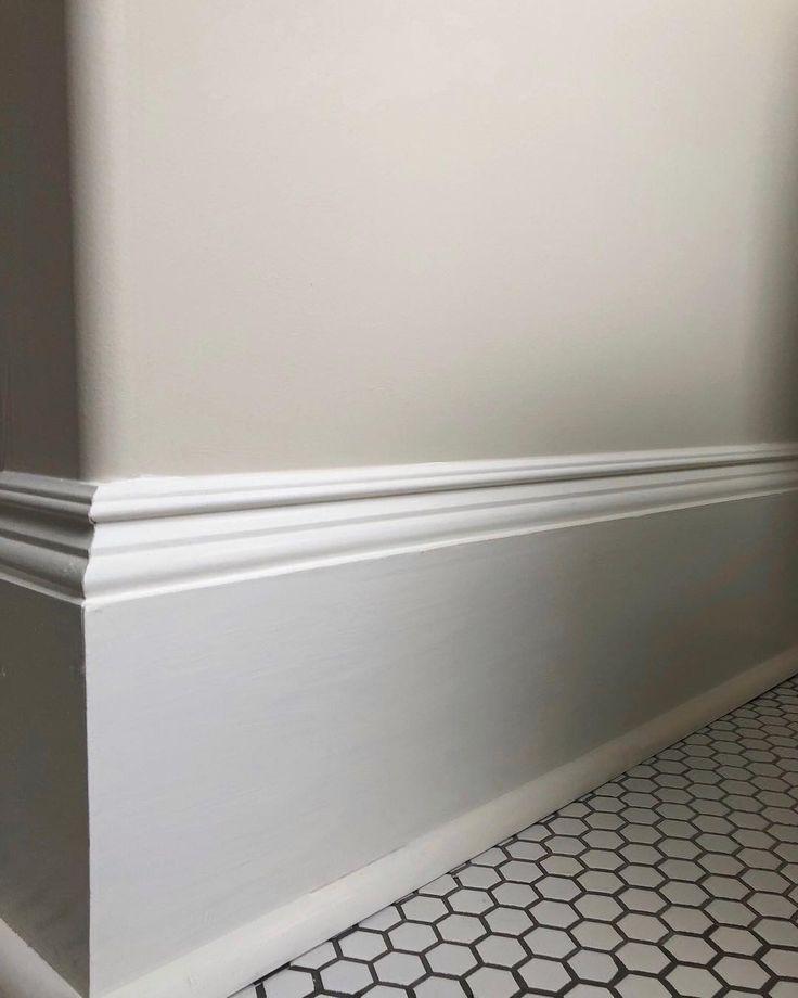 Grace Naumann's #bathroomrenovation #farrowandball #clunch on walls, custom colour on #baseboard, #hextile