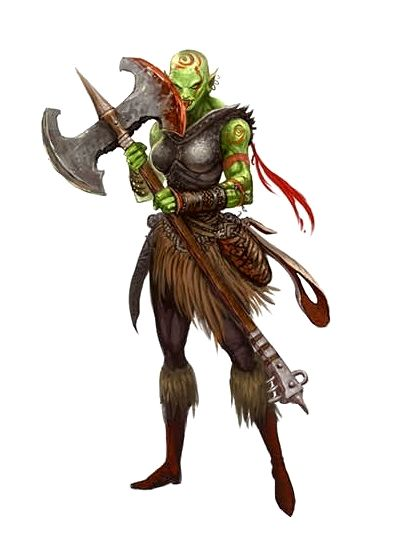 Female Orc Greataxe Fighter - Pathfinder PFRPG DND D&D d20 fantasy