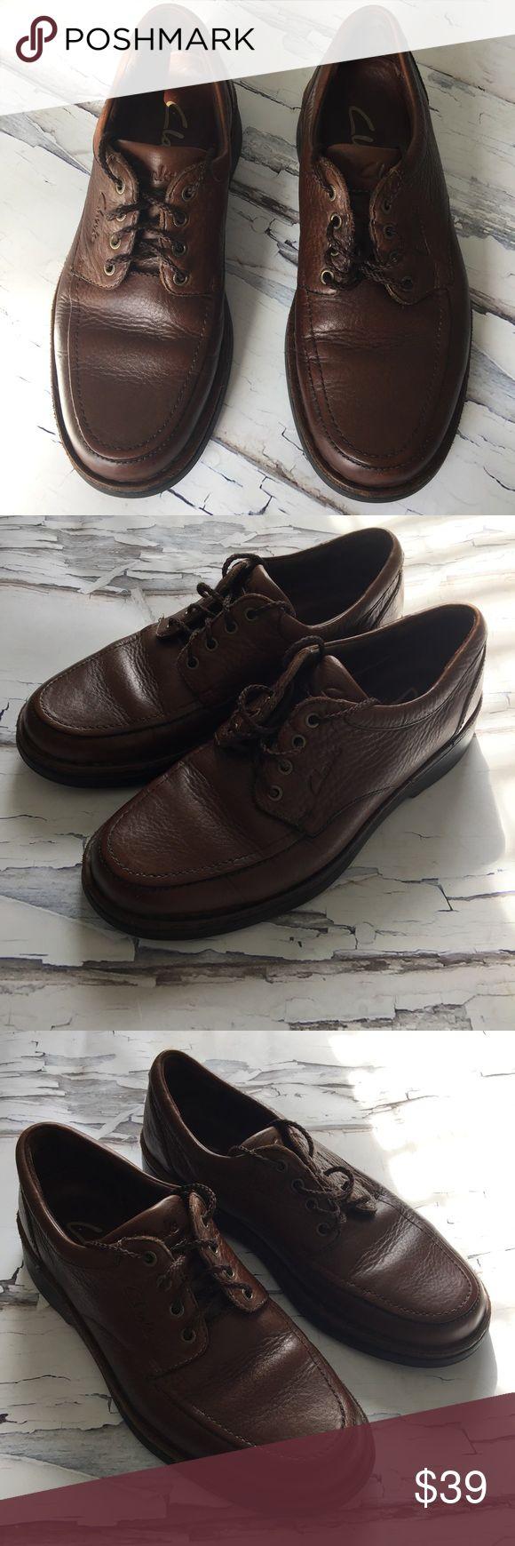 Men's CLARKS Brown Leather Lace Up Oxfords EUC Genuine leather. Medium width Clarks Shoes Oxfords & Derbys
