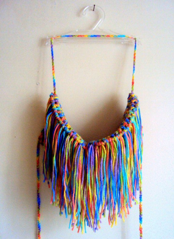 Crochet Fringe Boho Bikini Top Hippie Style Gyspy Top Rainbow Colors Tank Halter Cotton Acrylic Mix Swimwear Festival Top Women Beachwear by GrahamsBazaar, $35.00