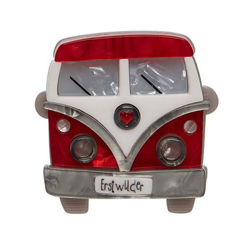 BNIB Erstwilder Vagabond Wheels Red VW Camper Van Brooch Limited Edition | eBay