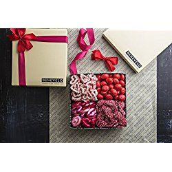 Benevelo Gifts Assorted Gourmet Candies with Nonpareils, Milk Chocolate Hearts, White Chocolate Pretzels & Red Cherries - The Ideal Present on Valentine's Day or Any Occasion - In Exquisite Gift Box