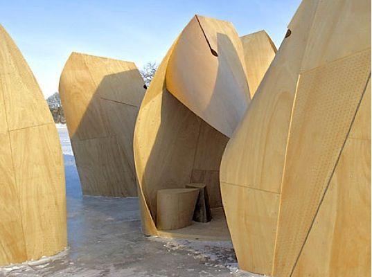 biomimicry, eco-design, green design, temporary shelters, buffalos, winnipeg, patkau, plywood shelters, sustainable design, harsh elements,