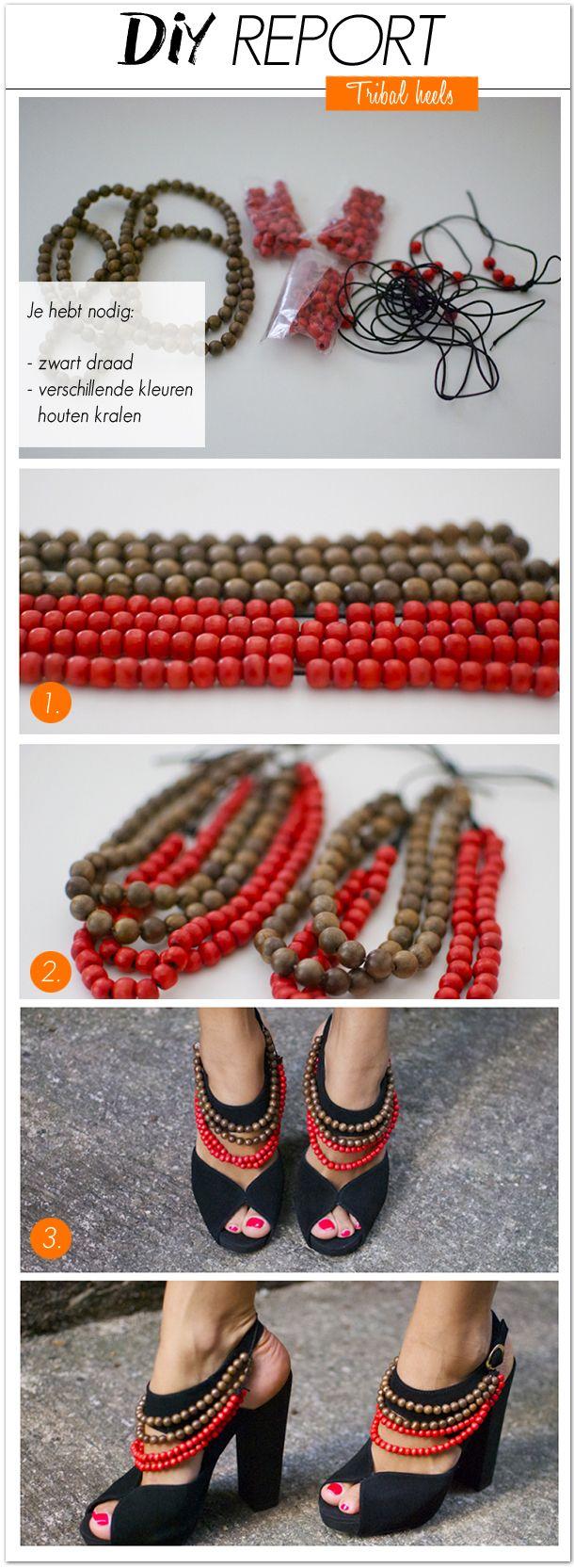 De modewereld is nog lang niet uitgekeken op de etnische printjes en exotische invloeden. De DIY van vandaag is geïnspireerd op de Burberry tribal beaded heels uit de Resort 2012 collectie.