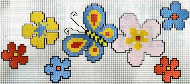 Flores en punto de cruz