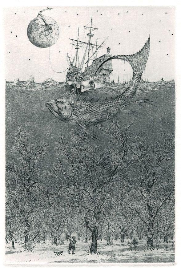 iamjapanese: Konstantin Kalinovich(Russian/Ukrainian, b.1959) Flight to Nowhere 2005 Etching, mezzotint