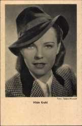 Ansichtskarte / Postkarte Schauspielerin Hilde Krahl mit Hut, Portrait