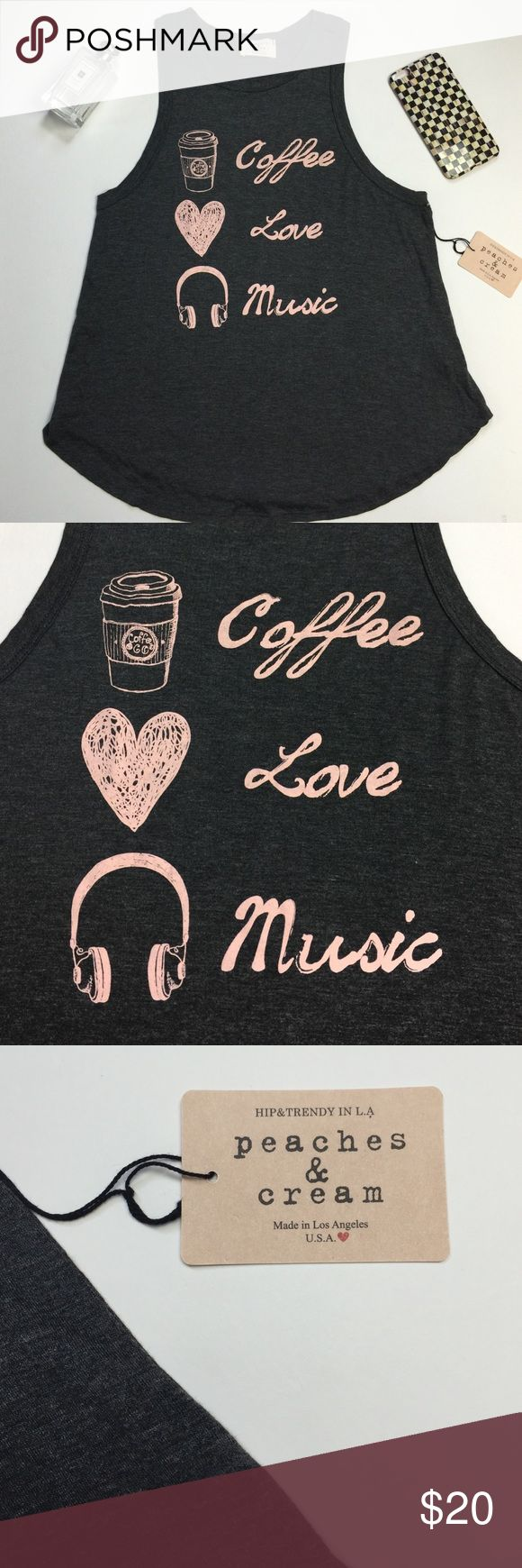 NWT grey graphic tank New with tags cute tank Coffee love music similar to wild fox brand made in lid Angeles USA Tops Muscle Tees
