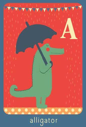 Alfabet print - A - Alligator - Pimpelpluis - https://www.facebook.com/pages/Pimpelpluis/188675421305550?ref=hl - (nursery print illustration kids children art poster dieren kinderen cute illustratie animal alphabet) vintage abc cards