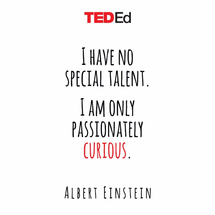 """""""I have no special talent. I am only passionately curios."""" [Albert Einstein]  #tedx #quote #curiosity"""