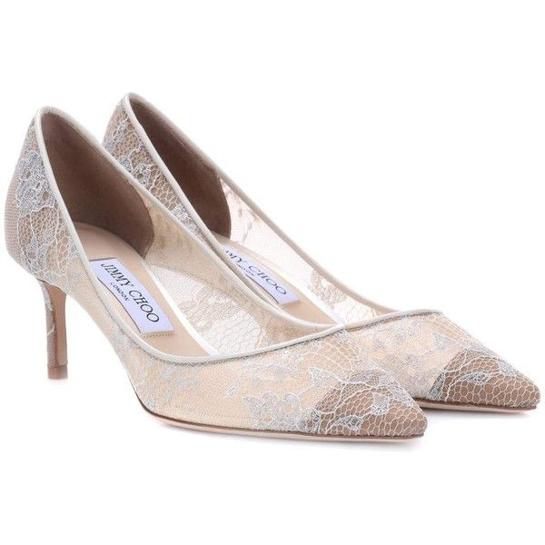 Jimmy Choo Romy 60 Lace Pumps ($765) ❤ liked on Polyvore featuring shoes, pumps, white, lace pumps, white shoes, white lace shoes, mid heel shoes and mid-heel pumps