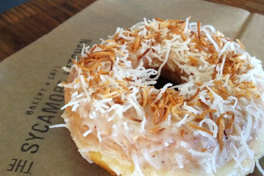 Eat It Up: L.A.'s Latest & Greatest Doughnuts #refinery29  http://www.refinery29.com/best-donuts#slide13  Coconut Donut, The Sycamore Kitchen The Sycamore Kitchen's sandwiches and salads may be amazing, but don't overlook the eatery's dessert selection, too! This coconut doughnut hits the spot any day of the week. The Sycamore Kitchen, 143 South La Brea Avenue; 323-939-0151.