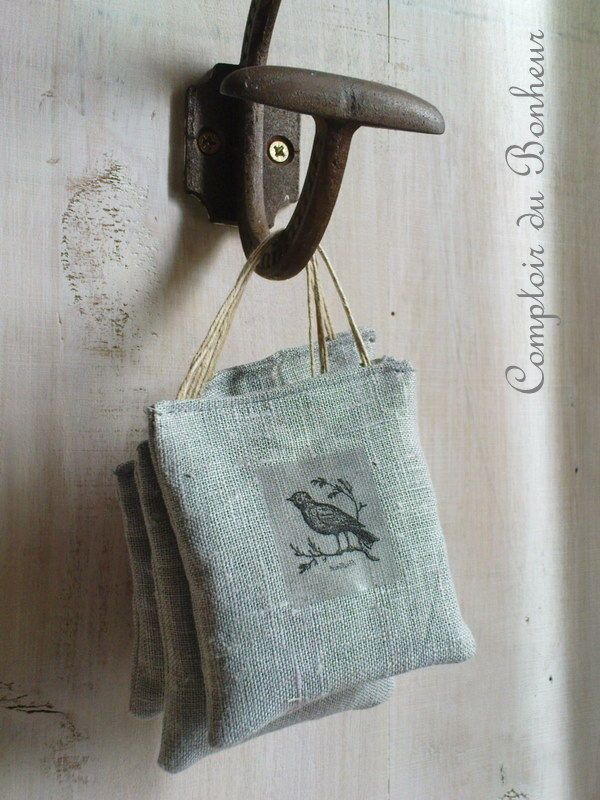 Lavender sachets with bird stamps! Beautiful.