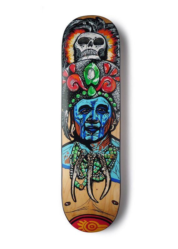 Custom skateboard deck, original and unique, Mayan, Amazon warrior, chief,  skull