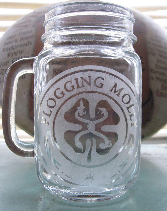 Flogging Molly Etched Mason Jar With Handle by WhiteLightningXXX, $10.00