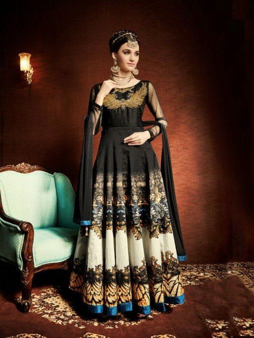 Black and Multi Color Satin Anarkali Suit with Zari Work