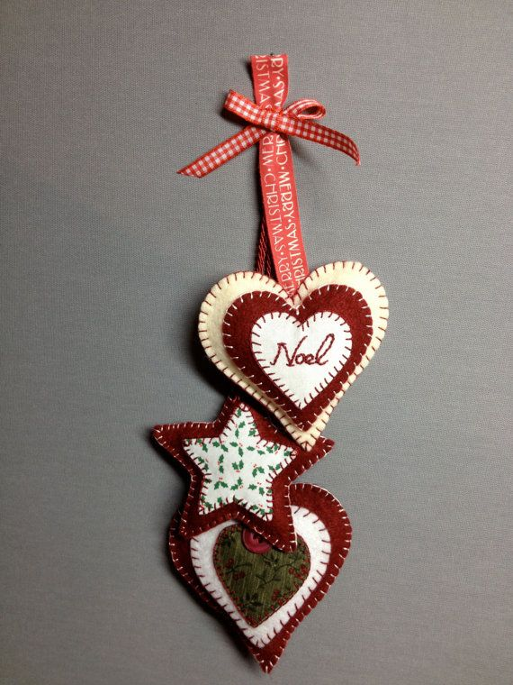 Hanging felt decoration stars and hearts. by CastleKellyCrafts, €7.95