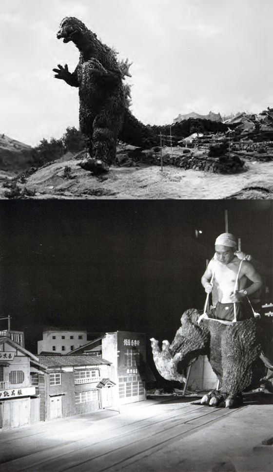 We all know that the original Godzilla movies were a bunch of folks in rubber costumes, but somehow that doesn't make this photo any less incredible.  Source: bigflyingrobots.com