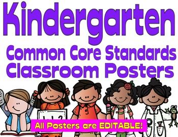 These Kindertarten Common Core Posters are large, and colorful! With the Melonheadz kids they're also adorable! They are the perfect way to display the daily standards to your students.