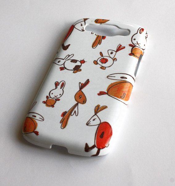 Rabbits  red  orange  Samsung Galaxy S3 Case  by VectorDecor, $14.90