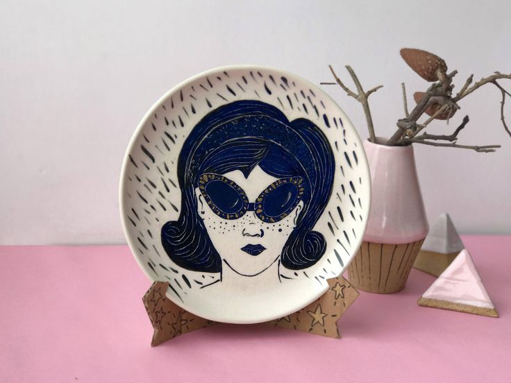 illustrated Ceramic plate, Sgraffito ceramic wall art, Decorative Ceramic Plate, Ceramic art Wall hanging, Gold ceramic, Ceramic decor by LoveMood #ceramicplate #illustration #ceramicart